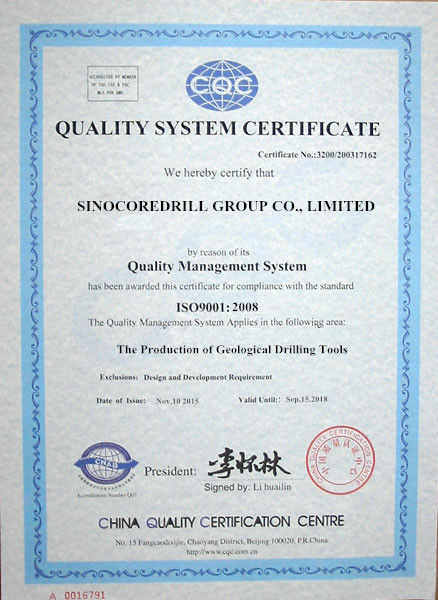 Китай Sinocoredrill Group Co.,Ltd Сертификаты